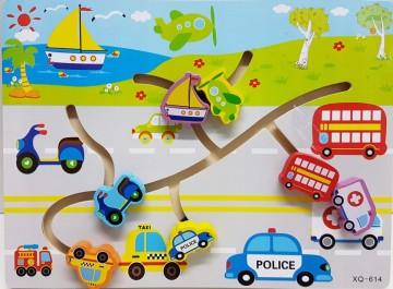 Puzzle labirint din lemn, Vehicule si Asocieri.