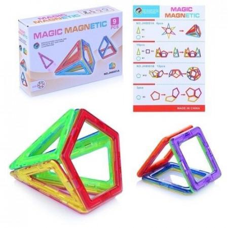 Set de constructie magnetic 3D. Magic Magnetic 9 piese.