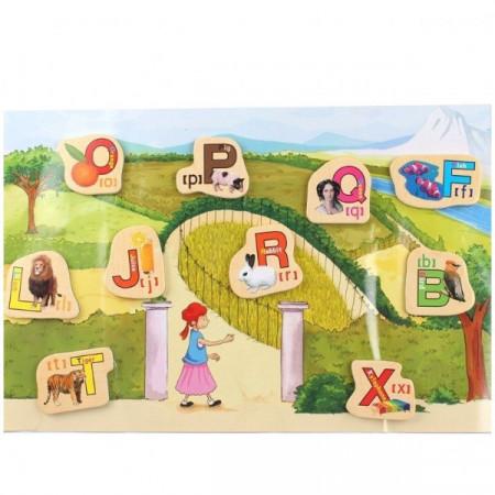 Set litere din lemn cu magnet, 28 piese. Alfabet magnetic pentru copii.