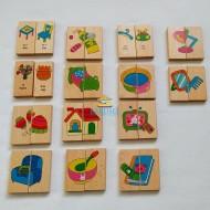 Joc Domino cu Obiecte casnice si Haine, Puzzle lemn pentru copii, 28 piese.