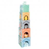 Jucarie bebe, Turn stivuire Prietenii din padure, Pastel Stacking Tower.