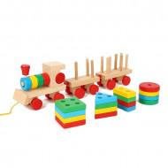 Jucarie din lemn, Tren stacker cu forme geometrice.