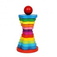 Jucarie educativa Piramida Curcubeu, Turn Montessori Rainbow.