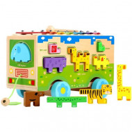 Jucarie lemn multifunctionala, 4 in 1, Autobuz, Puzzle sortator, Xilofon, Ceas.