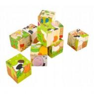 Puzzle educativ 9 cuburi din lemn. Puzzle Montessori.