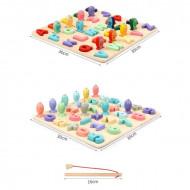 Puzzle incastru Montessori Litere mari de tipar, Joc de pescuit.