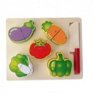 Puzzle incastru - set taiat din lemn 5 fructe/legume