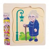 Puzzle lemn Multistrat Evolutia Omului, Puzzle educativ Montessori, Bunica.