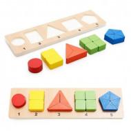 Sortator lemn Forme Geometrice si Fractii, Incastru educativ Montessori.