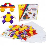 Joc creativ Tangram cu 125 piese din lemn. Joc educativ Montessori.