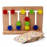 Joc Montessori 4 Colors, Joc din lemn Sortare si Asociere culori.