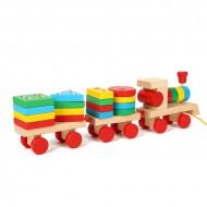 Jucarie din lemn, Tren stacker cu forme geometrice. 2 in 1 Jucarie sortator forme geometrice.