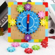 Jucarie educativa Ceas lemn cu roti zimtate, Gear Clock.