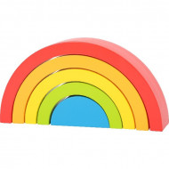 Jucarie Montessori 5 piese Rainbow Building Blocks, Small Foot. Curcubeu Montessori.