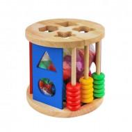 Jucarie Sortator Incastru din lemn, forme geometrice si abac. Jucarie Montessori.
