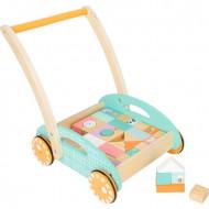 Pastel Baby Walker, Antemergator bebe si cuburi din lemn. Jucarie lemn Small Foot.