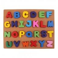 Puzzle incastru din lemn Alfabet, Litere mari tipar. Puzzle educativ.