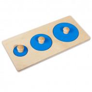 Puzzle Montessori Cercuri cu buton. Puzzle din lemn forme geometrice.