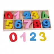 Set cifre colorate din lemn. Matematica distractiva.