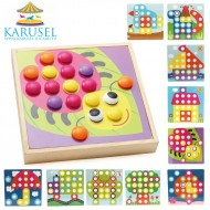 Joc creativ din lemn Mozaic Button Art. Joc Montessori.