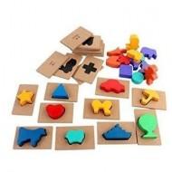 Joc educativ din lemn Ghiceste a cui este umbra. Joc Montessori.