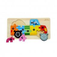 Jucarie educativa Puzzle lemn incastru Camion cu cifre.