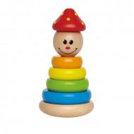 Jucarie lemn bebe Clown Stacker, Piramida Titirez cu 4 inele.