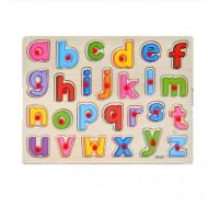 Puzzle incastru cu buton Alfabet litere. Puzzle educational.