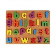 Puzzle incastru din lemn Alfabet, Litere mici de tipar.