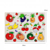 Puzzle incastru din lemn cu buton Fructe. Puzzle Montessori.