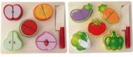 Puzzle incastru, Set taiat din lemn 5 fructe sau legume.