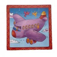 Puzzle lemn 16 piese. Puzzle educativ Avion.