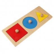 Puzzle Montessori, Forme Geometrice cu buton. Puzzle din lemn.