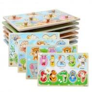 Puzzle Montessori, Mini Puzzle lemn incastru cu buton, diverse modele, 2 – 3 ani.