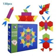 Tangram Creativ 130 piese, Joc creativ cu forme geometrice din lemn.