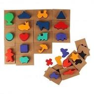 Puzzle tip incasJoc educativ din lemn Ghiceste a cui este umbra. Joc Montessori.tru - Joc educativ din lemn Ghiceste a cui este umbra.