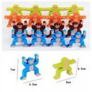 Joc Montessori din lemn Maimute colorate in echilibru.