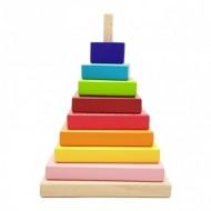 Jucarie din lemn Montessori, Turn Piramida Curcubeu Rainbow.