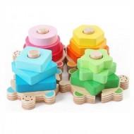 Jucarie Sortator din lemn Broscute colorate.Jucarii si Jocuri Montessori din lemn.