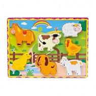 Puzzle incastru 3D Animale domestice. Puzzle educativ Montessori.