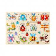 Puzzle incastru din lemn cu buton Insecte. Puzzle Montessori.