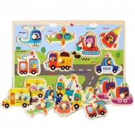 Puzzle incastru din lemn cu buton Vehicule si Masini. Puzzle Montessori.