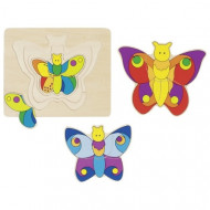 Puzzle incastru multistrat Fluturasii Colorati, Goki, Puzzle educativ Montessori.