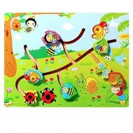 Puzzle labirint din lemn, Insecte si Asocieri. Puzzle educativ Montessori.