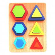 Puzzle Montessori, Puzzle incastru cu forme geometrice, 12 piese.