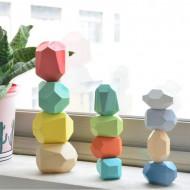 Set Montessori Pietre Colorate, Joc de echilibru Wooden Stones Stacking, 22 piese.