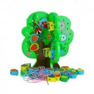 Joc de snuruit si insirat, Copac cu fructe si accesorii din lemn, Joc Montessori.