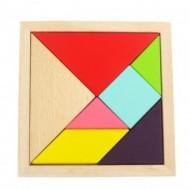 Joc Tangram lemn pentru copii, Jucarii si Jocuri Montessori din lemn
