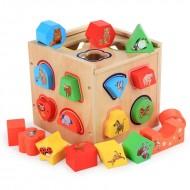Jucarie din lemn, Cub Sortator forme geometrice 19 piese.