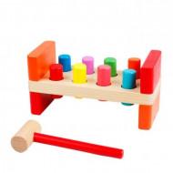 Jucarie lemn cu 8 cilindri si ciocan, Pound a Peg. Jucarie Montessori.